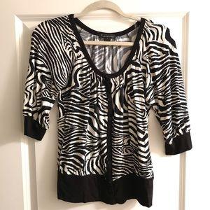 Forever 21 Zebra Animal Print cardigan top blouse
